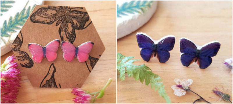 Butterfly Stud Earrings, Butterfly & Toadstool